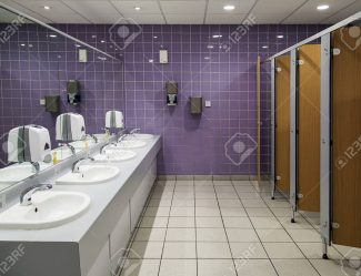 88827453 Public Bathroom Ladies Restroom With Cubicles And Sinks And A Purple Tiled Wall