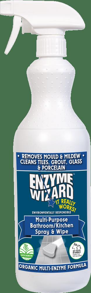 Enzyme Wizard Multi Purpose Bathroom Kitchen Spray Wipe 1l Trigger Pack