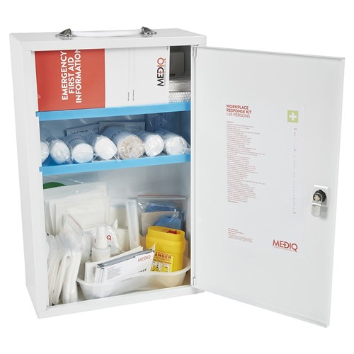Mediq Essential Workplace Response First Aid Kit Cabinet Open
