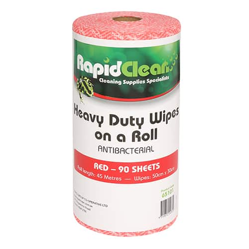 Rapid Clean Wipes On Roll Red