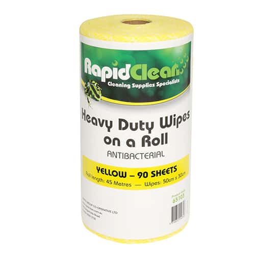 Rapid Clean Wipes On Roll Yellow